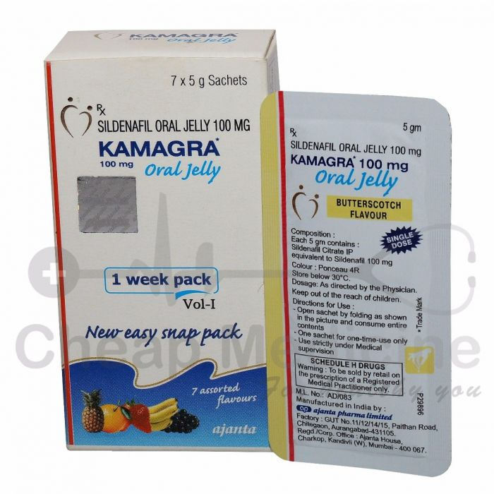 Kamagra 100Mg with Rx Sildenafil Oral Jelly front View