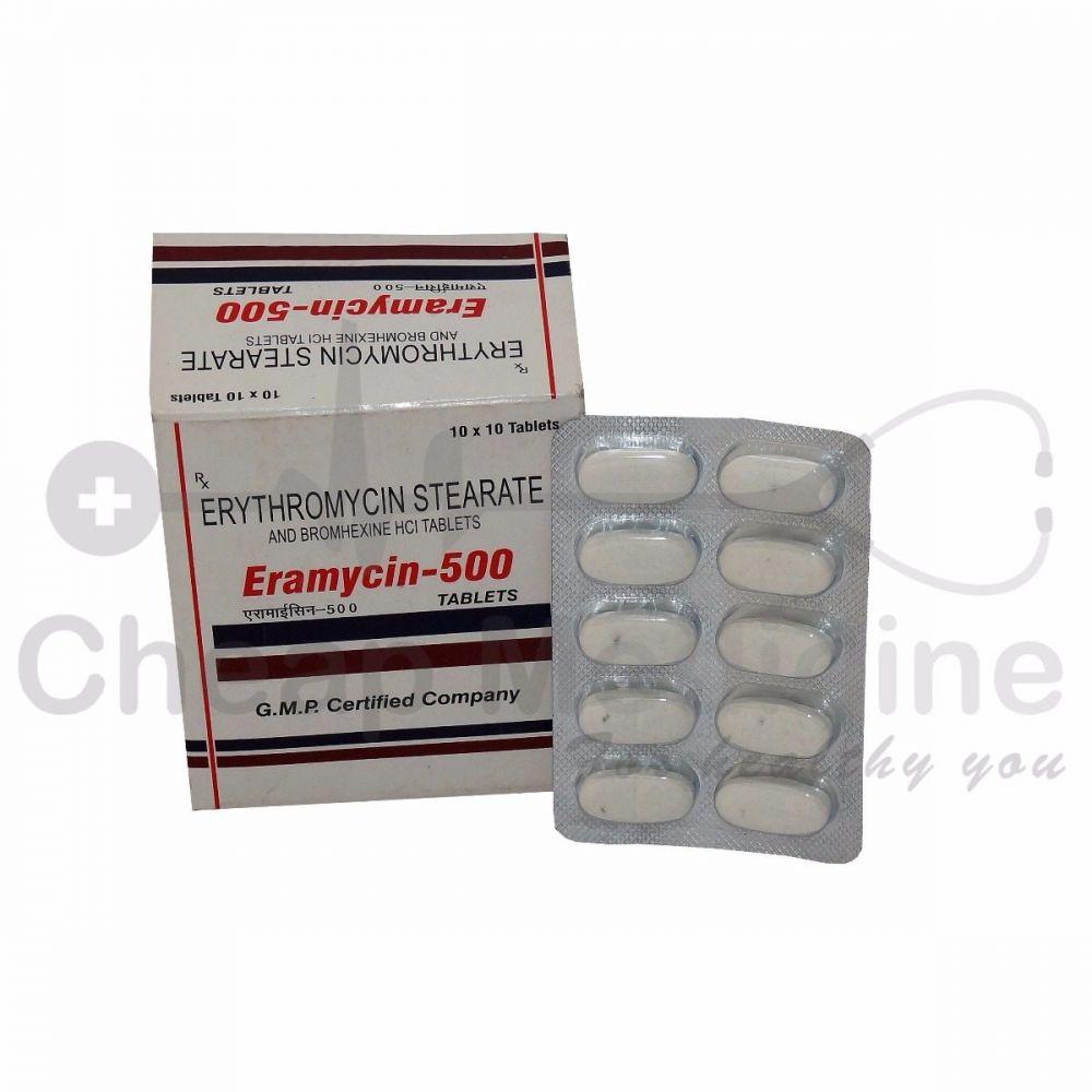 Eramycin 500Mg with Rx Ciprofloxacin Hydrochloride Front View